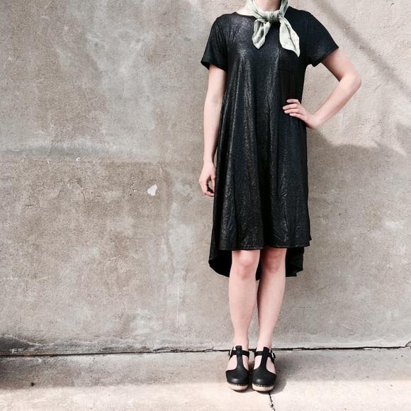 bd1d1147 LuLaRoe Dresses | Black Glitter Swing Dress | Poshmark